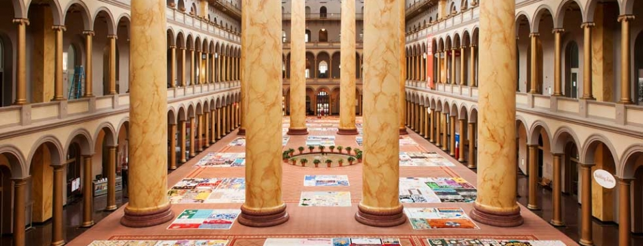 Visitors could view 500 squares from the AIDS Memorial Quilt from the Museum's 2nd and 3rd floor balconies. Photo by Kevin Allen.
