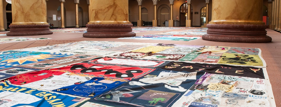Visitors could view 500 squares from the AIDS Memorial Quilt in the Museum's Great Hall. Photo by Kevin Allen.