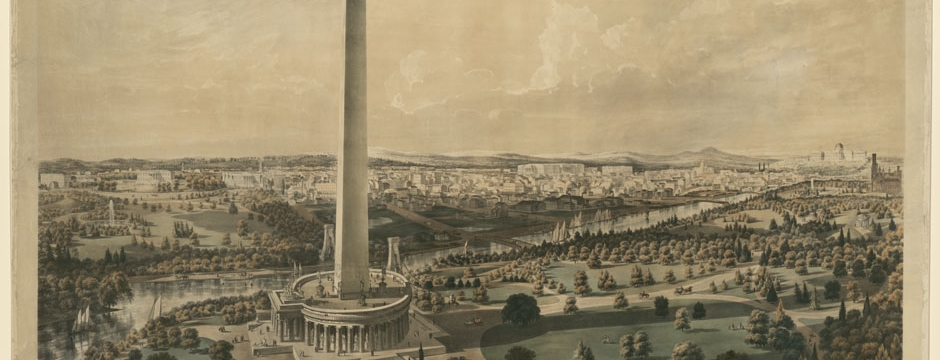 National Mall. Projected improvements to the Washington Monument and National Mall by B.F. Smith, 1852. Library of Congress, Prints and Photographs Division, LC-DIG-ppmsca-31534.