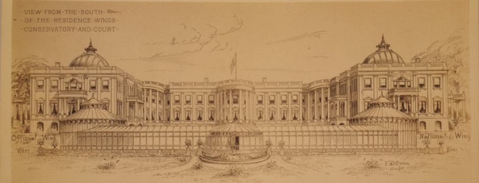 White House Extension. Proposed Extensions to the White House (Executive Mansion) by Robert Owen, 1891-1901. Library of Congress, Prints & Photographs Division, LC-USZC4-7736.