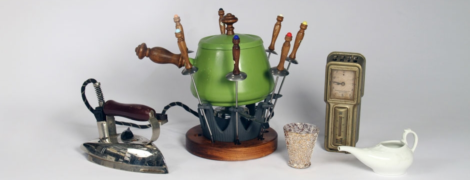 Iron, 1930s; Fondue set, 1970s; Cocktail glass, 1950s; Thermostat, 1920s; Pap feeder, 1880s. Photo by Museum staff.