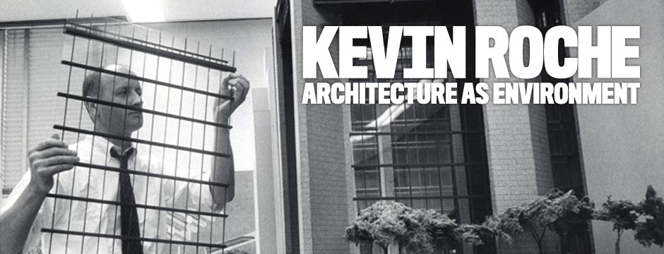 Kevin Roche inserting the curtain wall into a scale model of the Ford Foundation Headquarters, c. 1964. Courtesy Kevin Roche John Dinkeloo and Associates